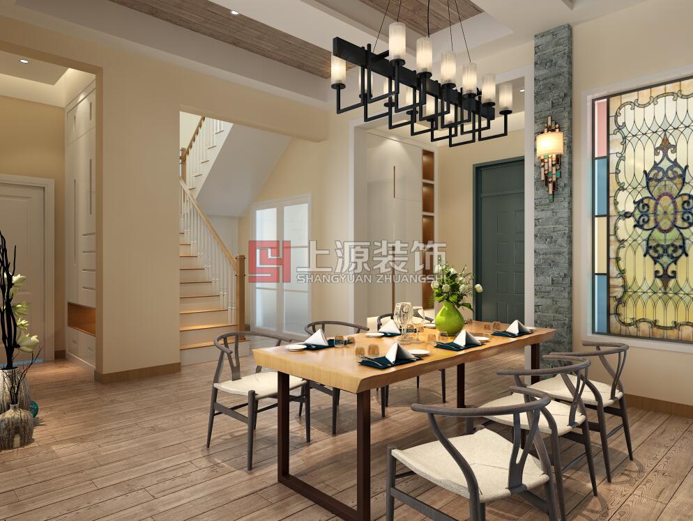 长水山庄别墅装修 青岛别墅设计北欧风格。 北欧的简洁、清新、自然,也有理性的优雅气质在这套设计中彰显无疑,根据客户的需求在做设计的时候没有大张旗鼓的浓墨重彩,没有奢靡繁杂的夸张造型,所有的精选的美物都转化成了舒适、放松的生活方式。明亮的採光进驻开放式的空间之中,搭配木设计将全室空间营造得相当温暖;设计师选用缤纷跳跃的家具家饰妆点空间,让居家表情更显丰富;一整面的彩色玻璃从外引入满满的暖阳带到餐厅,满足了就餐的舒适性,在顶面设计选择具有自然纹路的木地板打造,瞬间提升了空间中的暖调;客厅石材地板文化石渲染出北