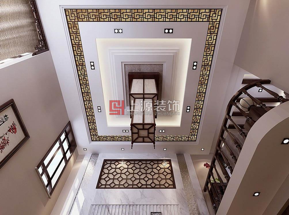 青岛别墅装修 410㎡ 中式风格 青岛别墅设计